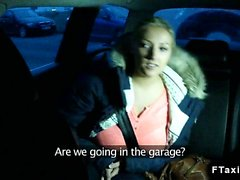 Huge tits blonde fucks in fake taxi on parking