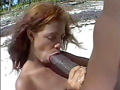 Big brown nipples & B ig brown cock on the beach.