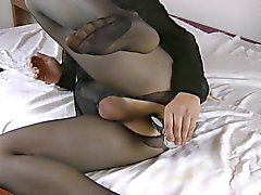 My fun in pantyhose with my dildo v10