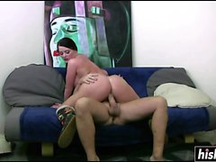 Curvy bomb teases her lover's penis