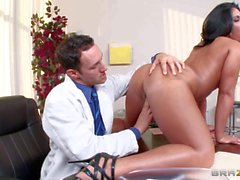 Nasty brunette secretary Bella pleases her boss