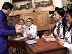 Naughty students are cought dildo fucking by their teacher