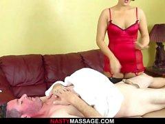 cumshot handjob massage brunett