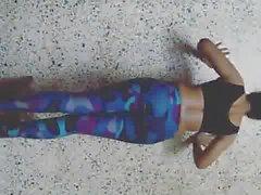 sexy desi babe in tite leggings doing push ups.mp4