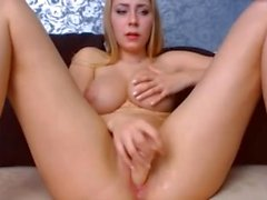 Blond big natiral boobs round ass tight pink pussy fingering