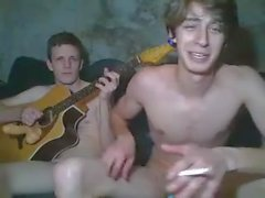 three straight friends bate and blow on cam