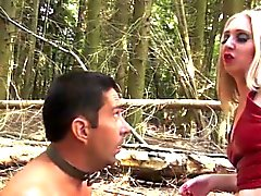 BDSM forest action with british femdom milf