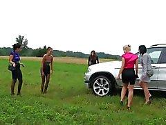 Dirty glamour chicks fuck a farmer