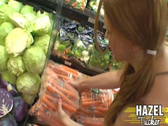 Young brunette shemale sticks vegetables up her ass hole