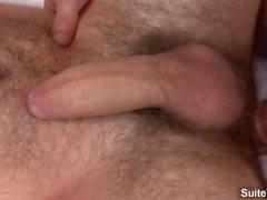 Cute brunette gay Girth Brooks getting anally slammed and cock jizzed