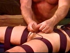 Extreme CBT session with ball punching crushing with metal car battery charger clamps.