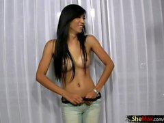 Super feminine Thai tgirl plays with bigtits