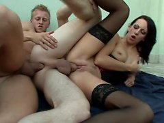 Horny guy enjoys great pleasure between a hung stud and a sultry girl