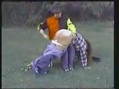 fatty girl get hard spanking in farm