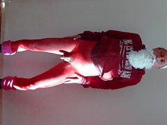 942 red nylon body Catsuit naked 4all Santa Claus nude at1