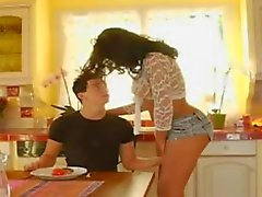 Guy fucks shemale ass in the kitchen