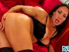 Denise Masino - Garter Shoot - Female Bodybuilder