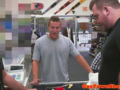 Pawnshop amateur cocksucking in store