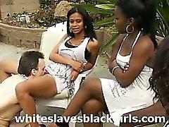 White slaves licking black pussy