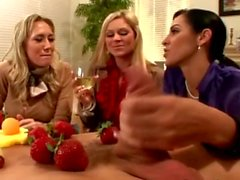 CFNM sluts chat and stroke at their diner party