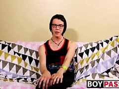 Nerdy twink Aaron Martin jacking it hard after interview