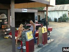 Blonde beauty gets fucked on a car