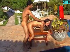 Shemale Fucked At The Pool
