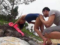 asiático bebê praia boquete ao ar livre