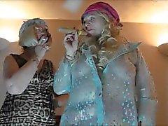 vecchio fumo britannici - collant per del pvc guanti da lesbico - gilfs
