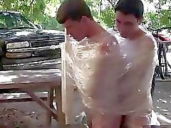 Hot gay scene Pledges in saran wrap, bobbing for dildos, and jalapeno