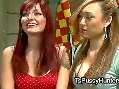 Asian tranny fucks bound redhead babe