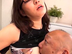 Big Japanese boobs groped in yellow lingerie