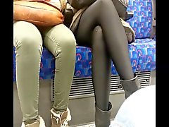 Hot shiny black pantyhose amateur