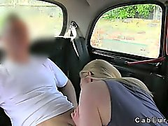 Natural busty blonde fucked and creampied in fake taxi