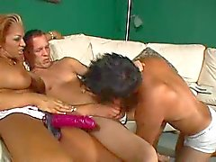 Bisexual threesome and a strapon screw