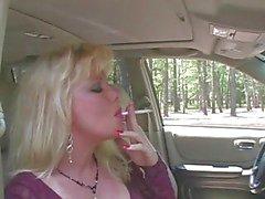 Hot Blonde MILF Smoking & Sucking In Fishnets & Heels