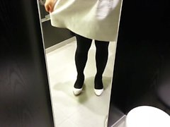 White Patent Pumps with Black Pantyhose Teaser 14