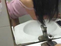 Chinese girl has fun in public