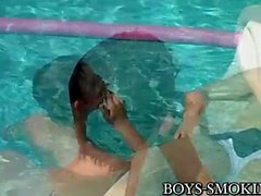 Young analled smokers cum hard in poolside threesome