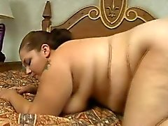 Chunky babe Elizabeth braces herself for a deep drilling on the bed