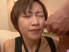 Akina Hara sucks on several dicks in a series of sloppy oral
