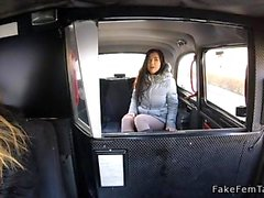 Strap on lesbian fuck in fake taxi