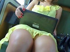 Upskirt Train Yellow Dress 1