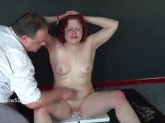 Knees on ice punishment and hot waxing of chubby amateur slave girl Isabel