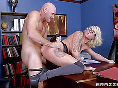 Breasty golden-haired schoolgirl Harlow Harrison drilled by her teacher