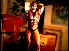 nahka lihas aiheuttaa poseeraa yksin mies