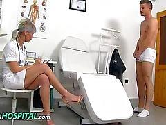 Hot legs uniform milf Beate mom-boy handjob