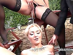 Blown away beauty in lingerie is geeting peed on and fucked