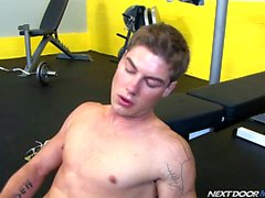 Vance Crawford jerks off and blows a load over his gym shoes