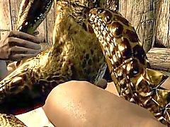 skyrim argonian 3d homem lagarto desenho animado